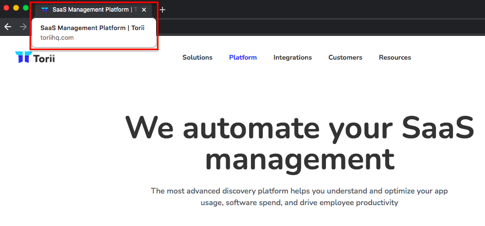 """""""SaaS management platform"""" is their keyword, however they don't make use of using it on their homepage."""