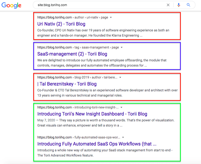 Here you see examples of indexed author pages highlighted in red, a tag page in blue, and old feature announcements in green.