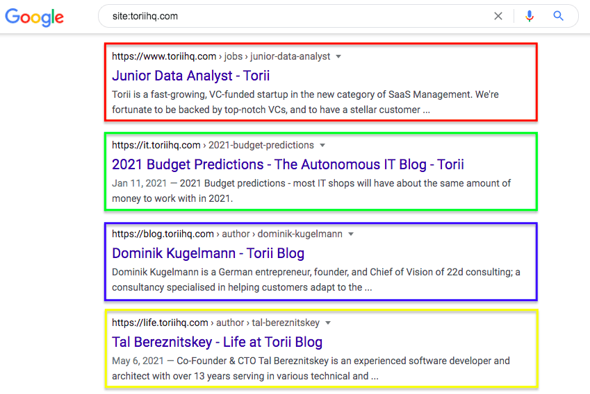 site:toriihq.com: Example of 4 different domains.