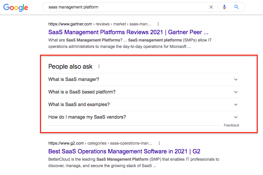 SaaS management platform Google search: Commonly asked questions.