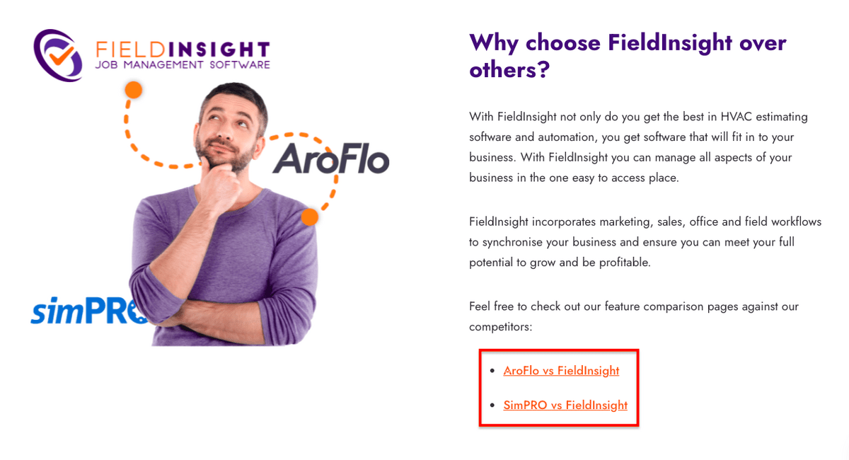 Example of implementing our SEO strategy for FieldInsight